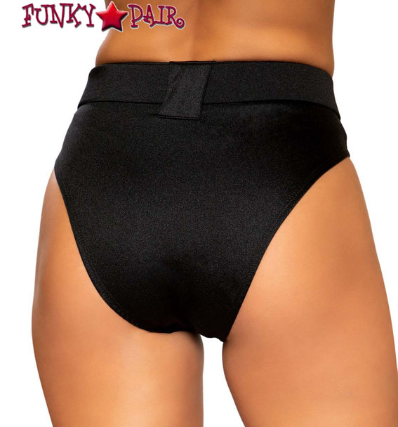 Roma   R-3749, BELTED HIGH-WAISTED RAVE SHORTS Black back view