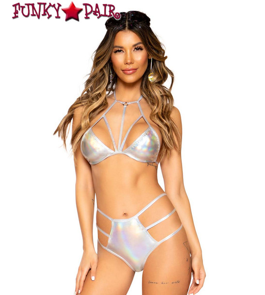 Silver METALLIC BIKINI TOP | Roma R-3750 with short 3751