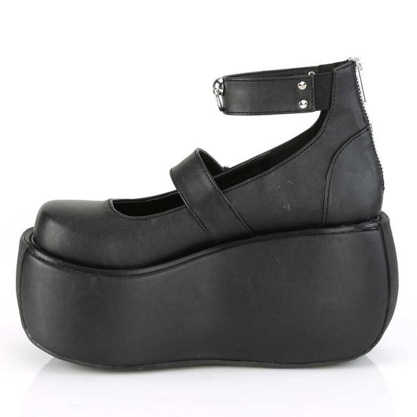 Demonia   Violet-32, Side View Platform Maryjane Sandal with Ankle Band