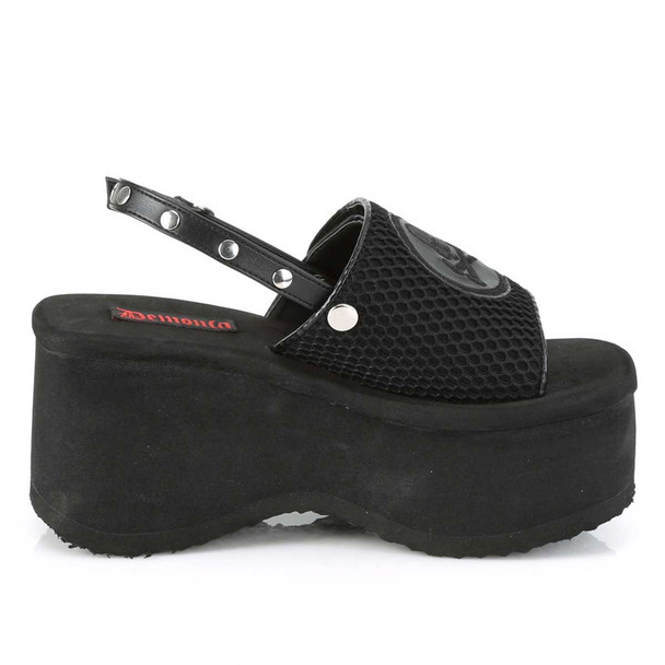Funn-32, Black Vegan Leather Platform Sandal with Slingback | Demonia Women Shoes Side View