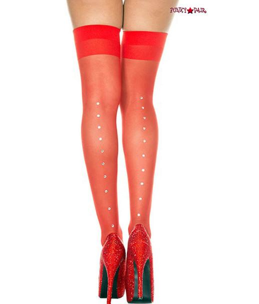Rhinestones Red Sheer Stockings by Music Legs  ML-4143
