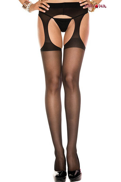ML-338, Sheer Suspender Black Pantyhose by Music Legs