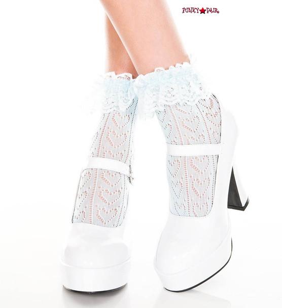 ML-515, Heart Net Design Ankle Sock by Music Legs color baby blue
