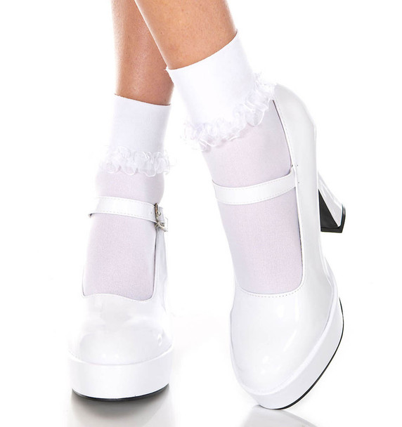 Music Legs | White Ankle High with Ruffle Trim, ML-514