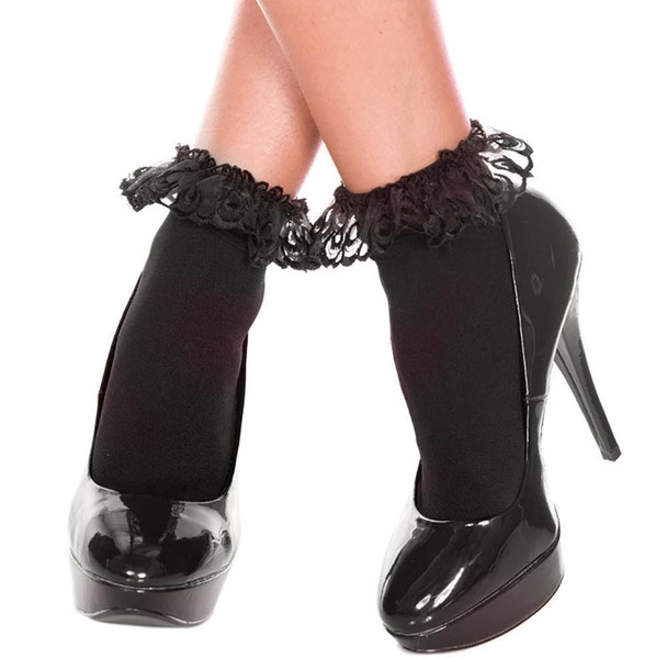 Music Legs | ML-527, Black Opaque Anklet with Ruffled Lace