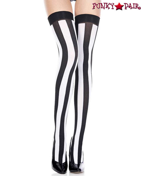 Black/White Vertical Striped Opaque Thigh Highs by Music Legs ML-4219