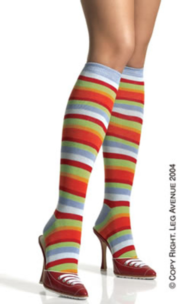 5576, Acrylic Rainbow Striped Knee Highs