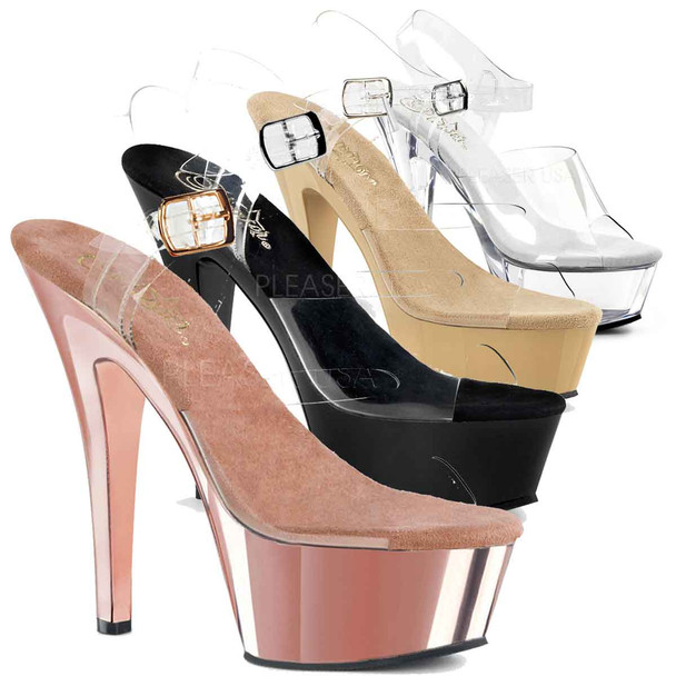 Pleaser Shoes | Ankle Strap Sandal KISS-208 color available: black, clear, cream, rose gold