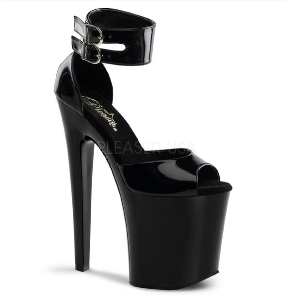 XTREME-875BP, 8 Inch Shiny Black Sexy Shoes Made By PLEASER Shoes