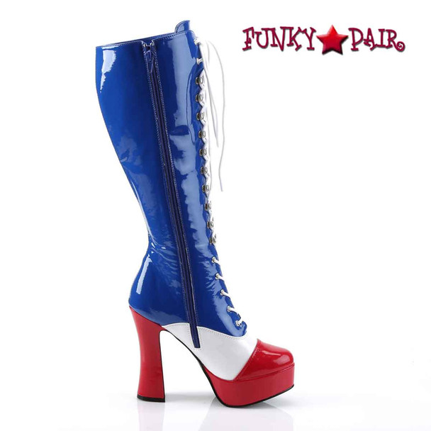 ELECTRA-2030, Women's Patriotic Red/white/Blue Boot  Zipper Side View