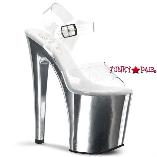 XTREME-808, 8 Inch Clear Strap Sandal Shoes