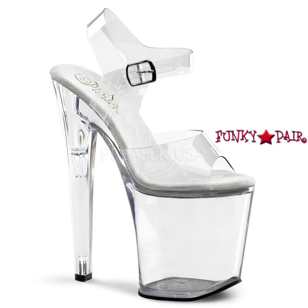 Pleaser | XTREME-808, Clear Strap Sandal Shoes