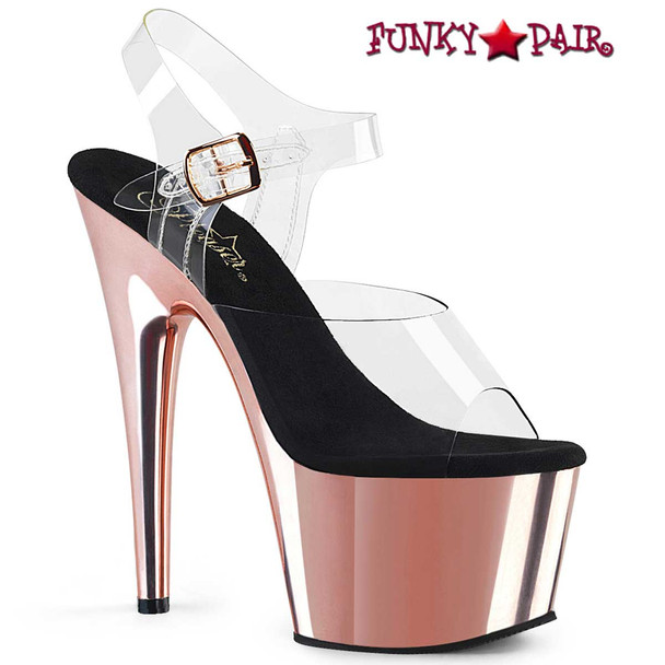 Adore-708 Rose Gold Chrome by Pleaser