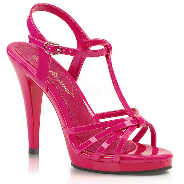 FLAIR-420, Black Pat T-Strap Platform Sandal hot pink