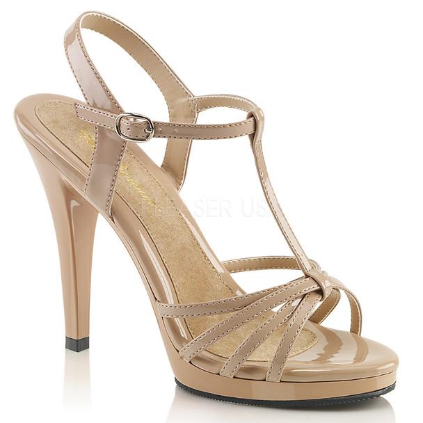 FLAIR-420, Black Pat T-Strap Platform Sandal nude