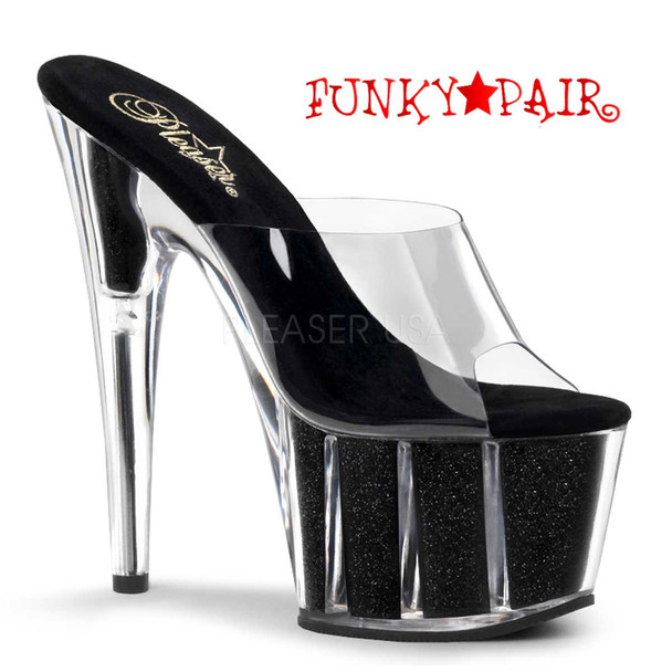 Pleaser | ADORE-701G, Sexy Pole Shoes Black Glitter