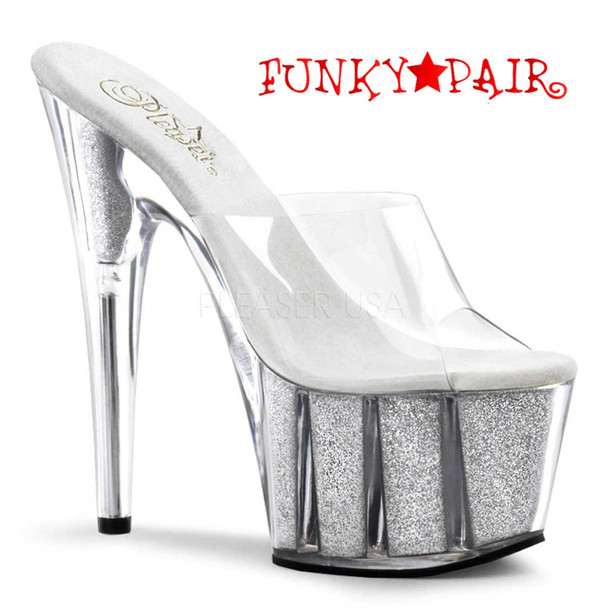 Pleaser | ADORE-701G, Sexy Pole Shoes Silver Glitter