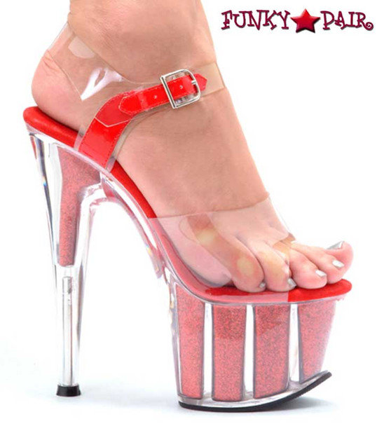 Red 709-Glitter 7 Inch Pole Fitness Shoes