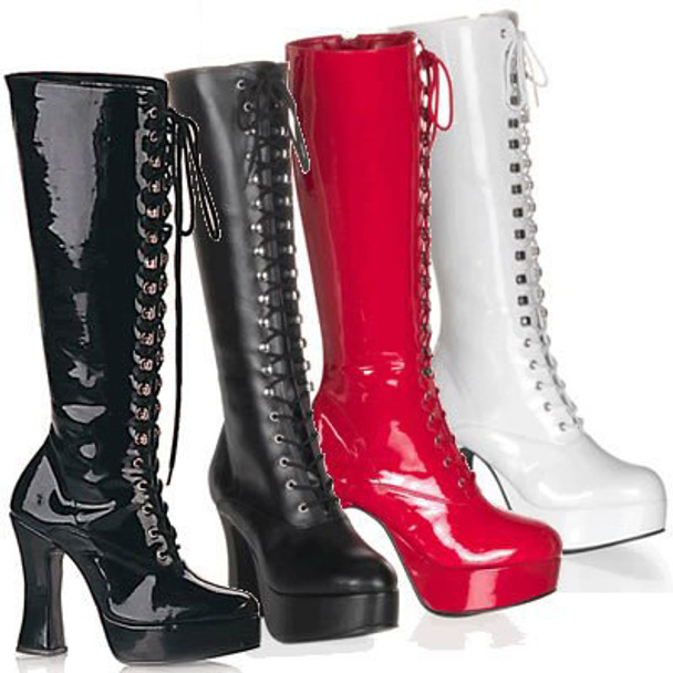 EXOTICA-2020, 4 Inch High Heel Platform Knee High Boot color available: black faux leather, black patent, white patent, red patent