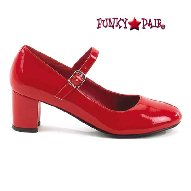 SCHOOLGIRL-50, Red SchoolGirl Mary Jane Shoes