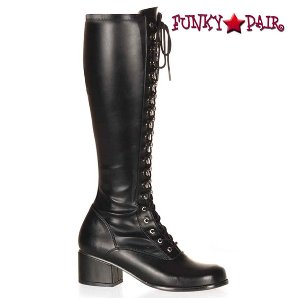 Retro-302, Block Heel Knee High Boot color black faux leather