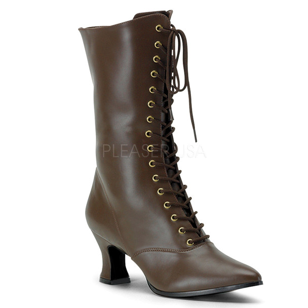 Victorian-120, Women Victorian Boot brown Faux Leather