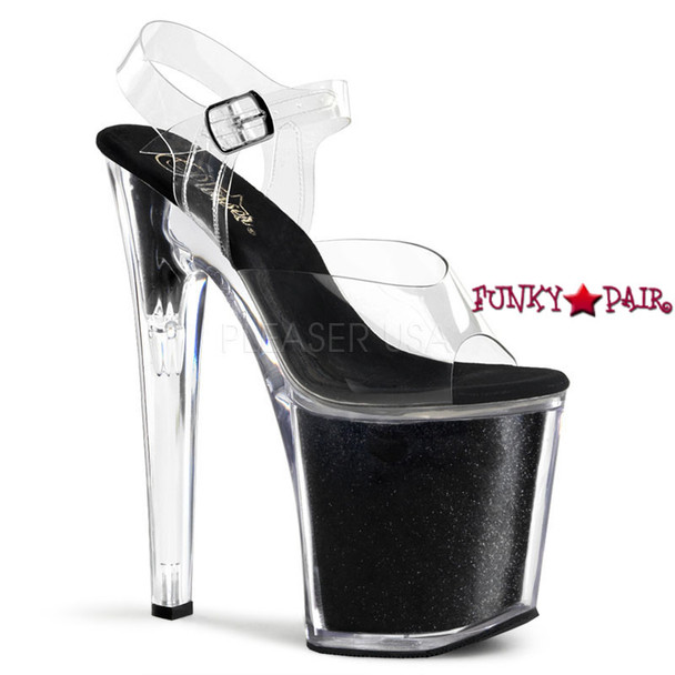 XTREME-808G, 8 Inch Ankle Strap Black Glitters
