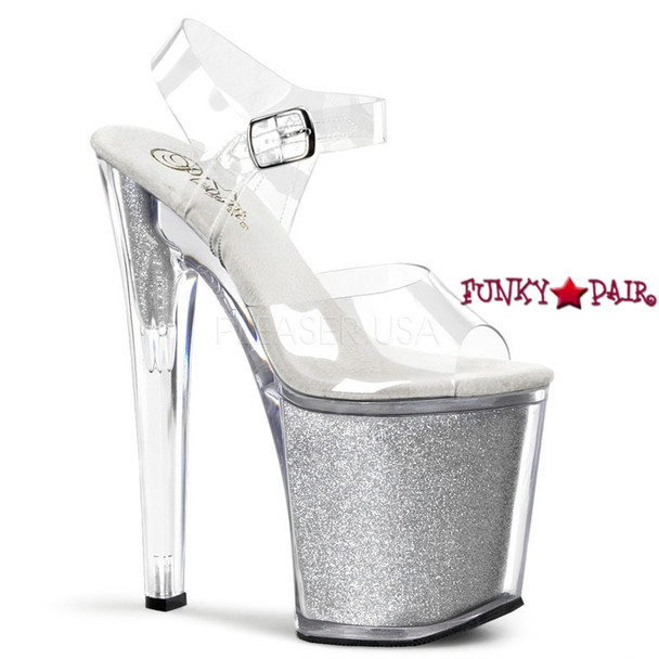 XTREME-808G, 8 Inch Ankle Strap Silver Glitters
