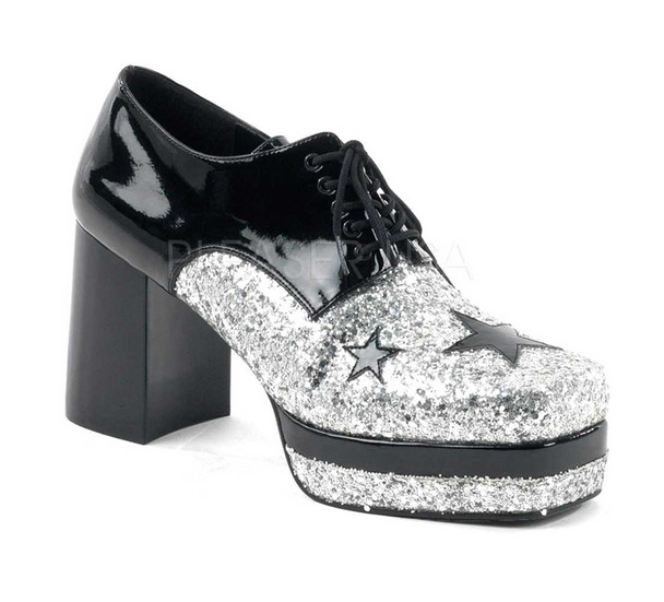 GLAMROCK-02, Men Glitter with Stars Disco Platform Shoe color black/silver