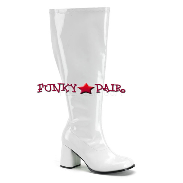 White GoGO-300X, Wide Width and Wide Calf GoGo Boots | Pleaser