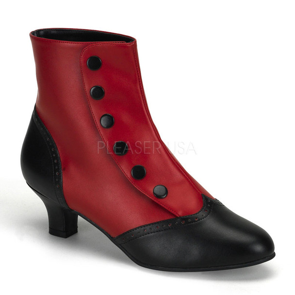 Bordello | FLORA-1023, Ankle Boots with Buttons  color red/black