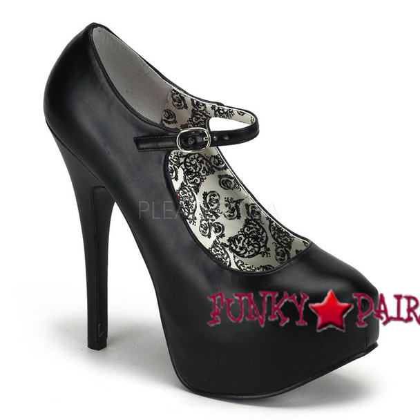 TEEZE-07, 5.75 Inch Stiletto High Heel with 1.75 Inch Mary Jane Platform Pump black faux leather