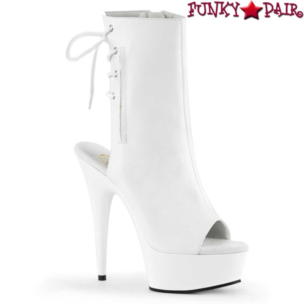 "Pleaser | Delight-1018, 6"" White Heel Stripper Ankle Boots"