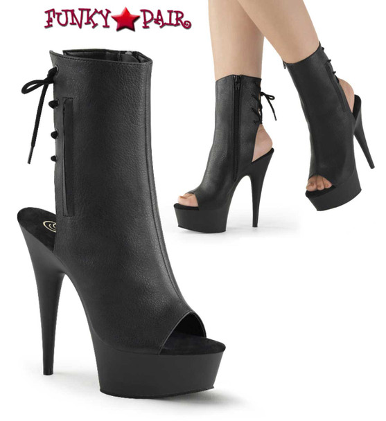"Pleaser | Delight-1018, 6"" Heel  Open Toe/Heel Back Lace-Up Ankle Boot color Black Faux Leather"