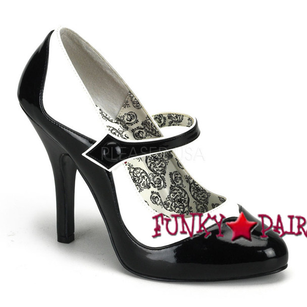 Bordello Tempt-07, 4.5 Inch High Heel Two Tone Maryjane Pump color black/white