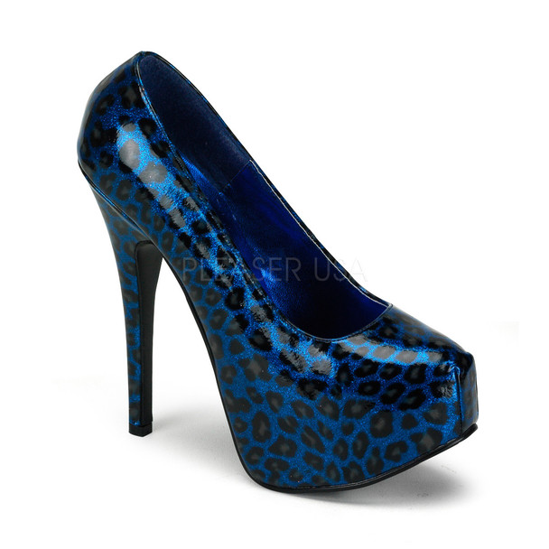 Bordello | Teeze-37, Cheetah Blue Glitter Print Pump