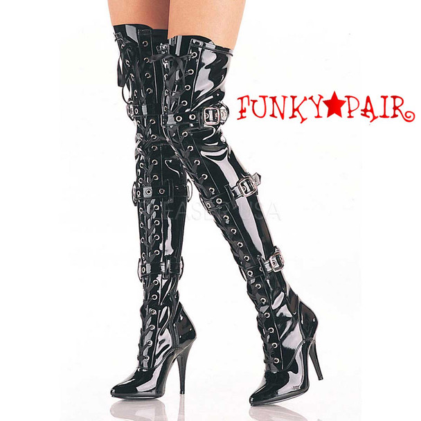 Black Lace up Thigh High Boots Pleaser | Seduce-3028,