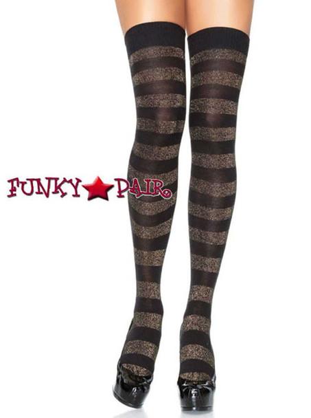 Black/Gold Lurex Striped Opaque Thigh High | Leg Avenue (6312)