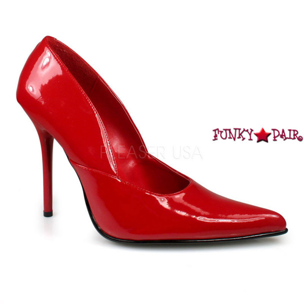 Red Milan-01, 4.5 Inch High Heel Classic Pump Made By PLEASER Shoes