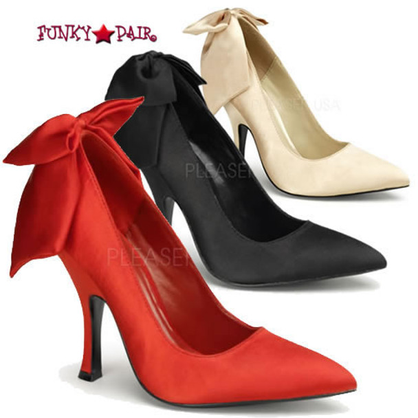 Bombshell-03, 4.5 Inch High Heel Pump with Bow in Back Made By Pinup Couture