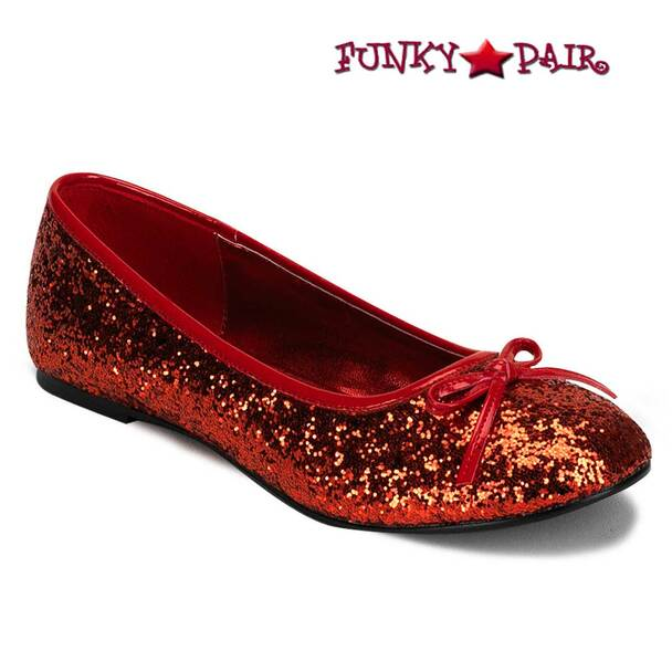STAR-16G, Red Women's Cosplay Glitter Flats | Funtasma Shoes