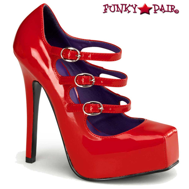 Red Square Toe Mary Jane Shoes