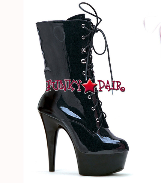 609-Diana, 6 Inch Platform high heel boots sz 5-12 * Made by ELLIE Shoes color black patent