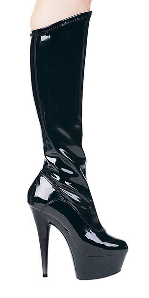 609-Emma, 6 Inch Platform Boots with Zippers * Made by ELLIE Shoes Black Patent