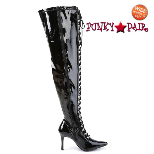 DOMINATRIX-3024X, Wide Width/Calf Lace Up Thigh High Boots | Side Zipper View