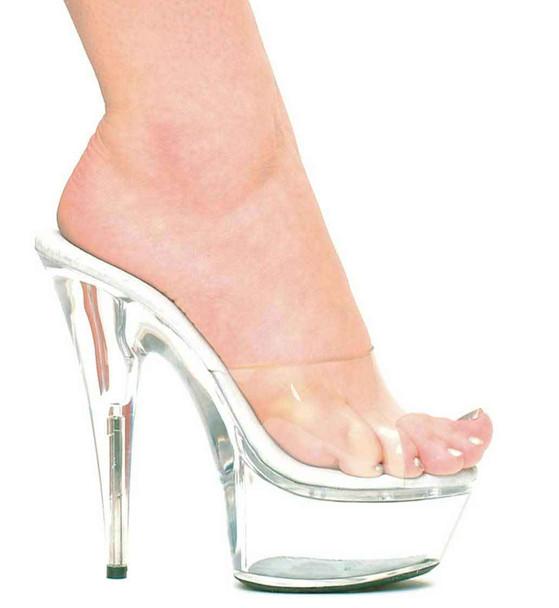 "6"" Basic Dancer Clear Heels Ellie Shoes   609-Vanity"