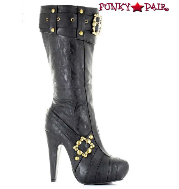 "426-AUBREY, Black 4"" Steampunk Knee High Boots With Buckles 