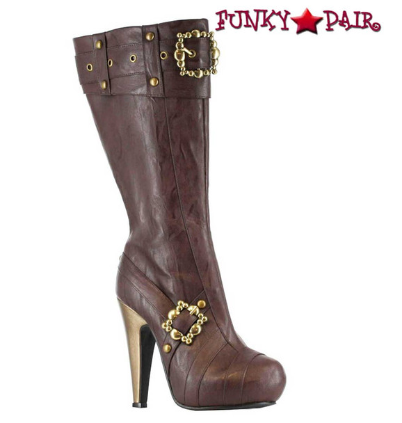 "426-AUBREY, Brown 4"" Steampunk Knee High Boots With Buckles 