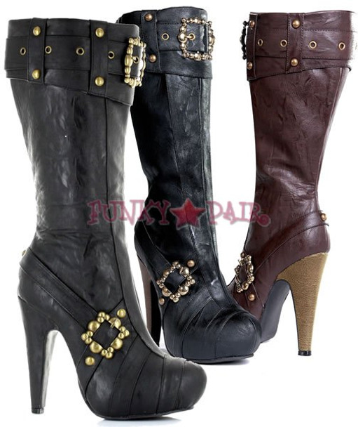 426-AUBREY * 4 inch knee high boots with buckles and studs