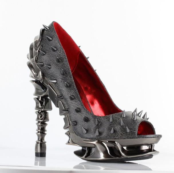 High Heel Pump with Metallic Spikes | Hades TALON color Pewter